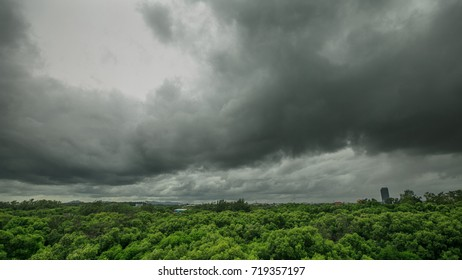 Dark cloudy and Storm raining is coming over anywhere in Ra-yong, Thailand