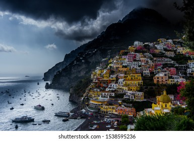 Dark and cloudy view to Positano
