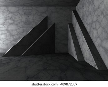 Dark concrete empty room interior background. 3d render illustration