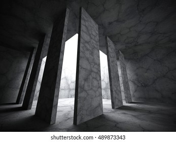 Dark concrete room interior background. Abstract architecture construction. 3d render illustration