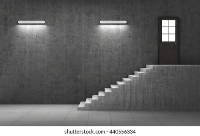 Dark concrete room with stairs leading to the door with light. Business concept. 3d illustration