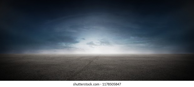 Dark Concrete Runway Street Floor with Night Sky Horizon