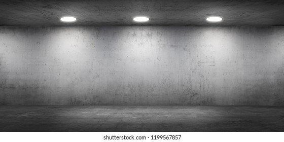 Dark Concrete Wall Room with Floor Empty Garage Interior Background