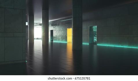 Dark corridor with daylight. Grunge interior. 3D Rendering