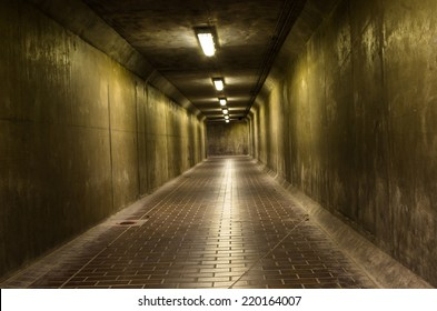 Dark corridor, lit a few lamps, mysterious and dangerous place
