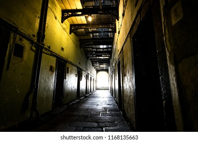 Dark corridor in the old Kilmainham Gaol