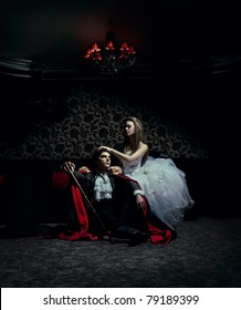 Dark couple resting after the ball