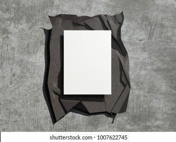 Dark cover with blank sheets on concrete floor. 3d rendering