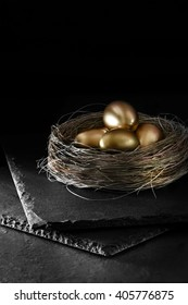 Dark and creatively lit pension nest egg concept image for pensions, savings, investments and unit trusts. Dark background. Generous accommodation for copy space.