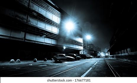 Dark Creepy Street at Night