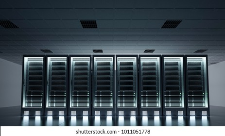 Dark data centre with glowing server racks 3d rendering