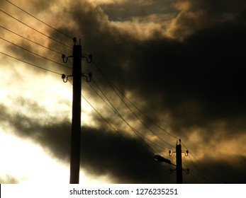 Dark day. It's cloudy. Gloomy day. Bad mood. Electricity by wires. Communication. Strung wires. The wire under tension.
