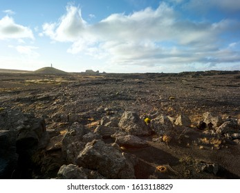 Dark desert landscape in Iceland. Backplate for offroad 4x4 4WD vehicle. Also possible for trekking and hiking.
