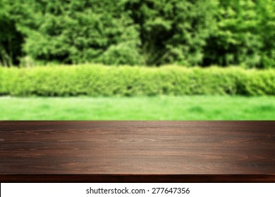 dark desk and grass