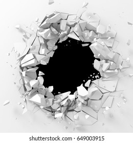 Dark destruction cracked hole in white stone wall. 3d render illustration