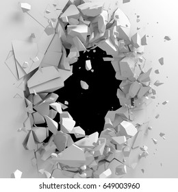 Dark destruction cracked hole in white stone wall. 3d render illustration