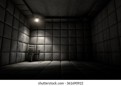 A dark dirty white padded cell in a mental hospital with an empty chair in the corner lit by a single spotlight