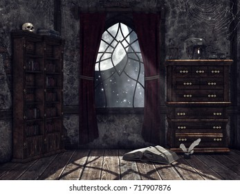 Dark dusty room with cobwebs, a book of spells, alchemical tools, and a skull. 3D illustration.