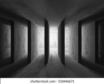 Dark empty concrete walls room interior background. Abstract architecture. 3d render illusrtration