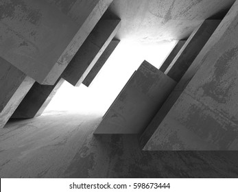 Dark empty room. Concrete rusty walls. Architecture grunge background. 3d render illustration