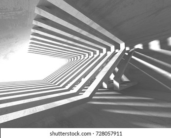 Dark empty room. Concrete rusty walls. Architecture grunge background. 3d render illustration