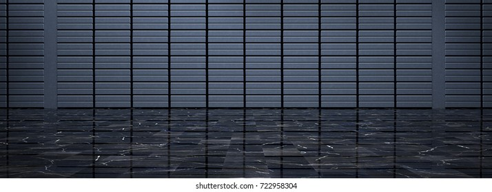 Dark Empty Room With Metal Wall and Black Polished Marble Floor (3d illustration)