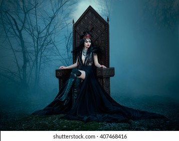 dark evil queen sitting on a luxurious throne,dark boho,snow white, wild Princess , vampire , hip toning , creative color,dark boho