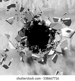 Dark explosion hole of concrete old wall. 3d render illustration