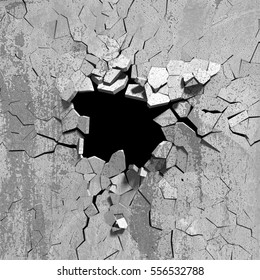 Dark explosion hole of concrete old wall. 3d render illustration