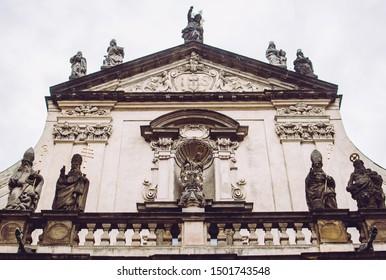 Dark facades of St. Salvator Church at Charles Bridge in Prague