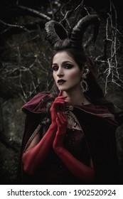 Dark fairy in the forest