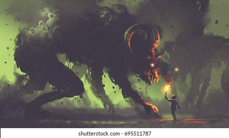 dark fantasy concept showing the boy with a torch facing smoke monsters with demon's horns, digital art style, illustration painting