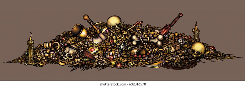 Dark fantasy cursed treasure. Illustration pile of treasure with coins, gold, jewelry, gems, artefacts, skulls, weapon