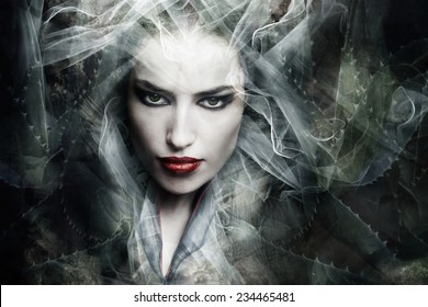 dark fantasy sorceress woman, composite photo