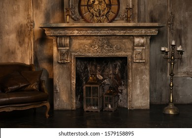 Dark fireplace in vintage style at old house