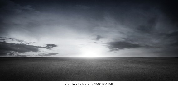 Dark Floor Background Panoramic Empty Concrete Area with Dramatic Sky Clouds