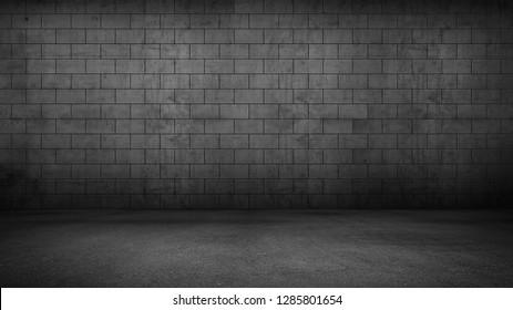 Dark Floor Concrete Brick Wall Background Panoramic Wide Black Interior Texture
