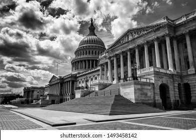 Dark and foreboding black and white view of the US Capitol Building in Washington DC