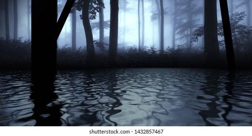 dark forest reflection fantasy landscape