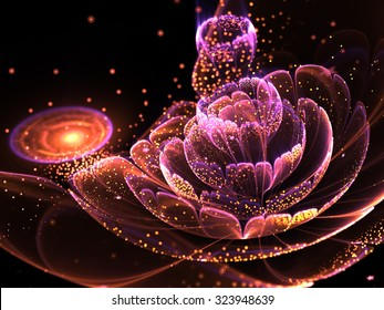 Dark fractal flower with gold pollen, digital artwork for creative graphic design