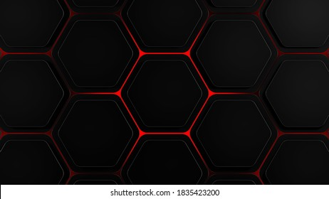 Dark futuristic hexagons background with red glow breaking out, 3d render illustration