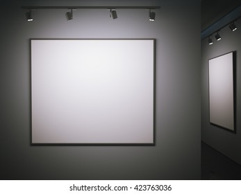 Dark gallery with blank posters on the walls. 3d rendering