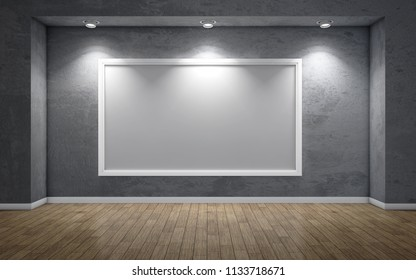 Dark gallery Interior with empty frame on wall. 3d rendering