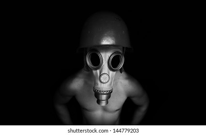 Dark gas mask and helmet wearing character