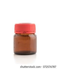 dark glass jar with empty threaded on a white background.