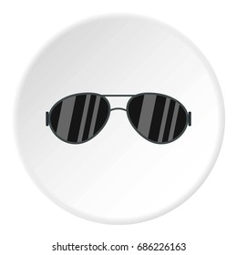 Dark glasses icon in flat circle isolated  illustration for web