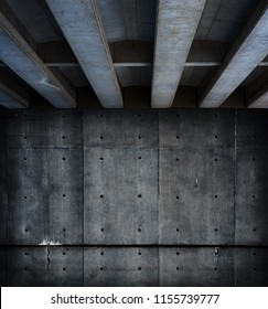 Dark and gloomy concrete space. Concrete wall and ceiling.