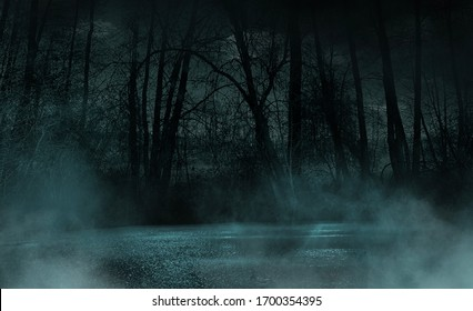 Dark gloomy forest. Night in the forest. Nature scene with forest and moonlight. Night view of the forest, nature, fog, smog, smoke.
