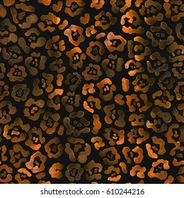 Dark glow seamless leopard print. Black and orange gold raster animal texture. Beautiful animal skin pattern. Spots of wild animals hand painted raster watercolor ornament.
