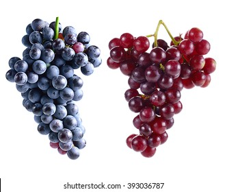 Dark grapes and Red grapes Isolated on white background